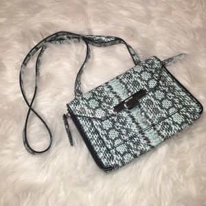 Nine West Light Blue Snakeskin Crossbody Purse